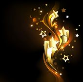 Three Soaring, Golden, Shining Stars On A Dark Background. Design With Gold Stars. poster
