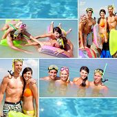 Collage of happy young adults scubadiving on vacation