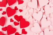 Paper Red And Pink Hearts As Male And Female Symbol Soar On Soft Pink Color Background. Valentine Da poster
