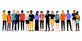 Multiethnic Group Of People Standing Together On White Background, Diversity And Multiculturalism Co poster