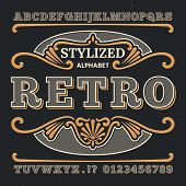 Vintage Western 3d Typography. Gothic Retro Vector Type. Retro Numbers And Letters. Abc Text, Alphab poster
