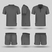 Soccer Black Sports Uniform. Male Shorts And T-shirt Front, Side And Back View Vector Mockup. Illust poster