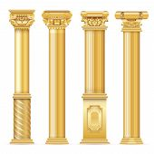 Classic Antique Gold Columns Vector Set. Illustration Of Architecture Column, Architectural Classic  poster