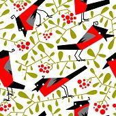 Bullfinch Seamless Pattern In Flat Simple Style. Doodle Floral Botany Background With Rowan Branches poster