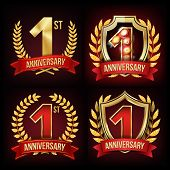 1 Year Anniversary Banner Vector. One, First Celebration. Shining Gold Sign. Number One. Laurel Wrea poster