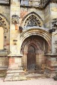 picture of rosslyn  - Side entrance of the 15th century Rosslyn chapel near Edinburgh - JPG