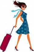 Frau mit einem Gepäck-Tasche. Gepäck-Tasche.