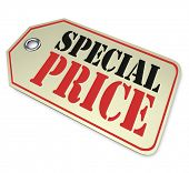 A price tag with the words Special Price, illustrating a deep discount or markdown on merchandise during a limited-time sale or clearance event at a store or online retailer