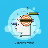 Silhouette Of Human Head, Shooting Target And Pencils. Concept Of Creative Mind, Smart Thinking, Cre poster