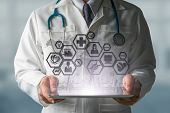 Doctor With Medical Science Icon Modern Interface poster