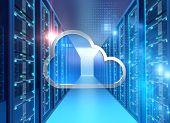 Server Room 3d Illustration With Node Base Programming Data  Design Element.concept Of Big Data Stor poster
