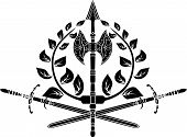 Victory symbol with axes, sword and laurel wreath