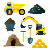 Illustrations Of Mining Industry At Different Minerals, Gold And Diamonds. Gold Industry Underground poster
