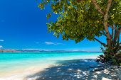 Beautiful Beach. View Of Nice Tropical Beach. Holiday And Vacation Concept. Tropical Beach. poster