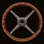 Painted Brown Wooden Car Steering Wheel On Black Background poster