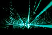 Turquoise Laser Show Nightlife Club Stage And Party People Crowd. Luxury Entertainment With Audience poster