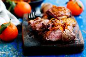 Peking Duck Breast Clementine Spices.style Rustic.selective Focus poster