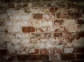 Threadbare Surface Of Ancient Masonry. Abstract Background With Old Brick Wall. poster