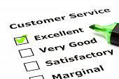 image of loyalty  - Customer service evaluation form with green tick on Excellent with felt tip pen - JPG