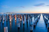 Old Wooden Pylons Of Historic Princes Pier In Port Melbourne At Dusk. Australia. Long Exposure Lands poster