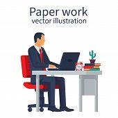 Paperwork Concept. Businessman At Desk Working On Paperwork. Office Worker. Working Office Atmospher poster