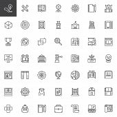 Knowledge Outline Icons Set. Education Linear Style Symbols Collection, Line Signs Pack. Vector Grap poster