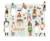 Hand Drawn Vector Abstract Cartoon Cooking Class Illustrations Icons Collection Set With Cooking Peo poster
