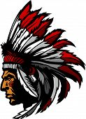 stock photo of indian chief  - Graphic Native American Indian Chief Mascot with Headdress - JPG