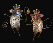 Embroidery Mouse King And Queen.  Two Cheerful Mice Are Danced In Flowers Classical Embroidery. Temp poster