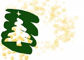 Fun Christmas Greeting With Gold Stars And White Background.