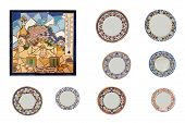 Handmade  Painted Wall-plates, Mirrows And  Clocks Diferent Sizes Against A White Background