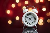 Time For Party And Wake Up To Work, White Alarm Clock With Party Decoration Light Bokeh In The Red B poster
