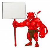 Devil Standing Holding Sign
