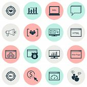 Seo Icons Set With Target Promotion, Comprehensive Analytics, Display Advertising And Other Digital  poster