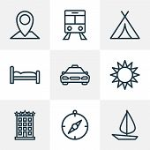 Journey Icons Line Style Set With Cab, Compass, Sun And Other Canopy Elements. Isolated  Illustratio poster