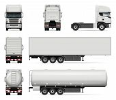 Truck Vector Mock-up. Isolated Template Of Lorry On White Background. Realistic Vehicle Branding Moc poster