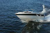 Fast motor boat with splash