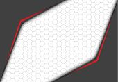 Abstract Red Line Metallic Gray Arrow With Hexagon Mesh On White Blank Space Design Modern Futuristi poster