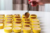 Caramel Cake Decoration Process. Delicious Homemade Flan Dessert Or Creme Caramel Dessert . Fresh An poster