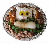 Steamed Egg With Minced Pork And Fired Fish Ball And Steamed Fish With Owl Style And Green Onion poster