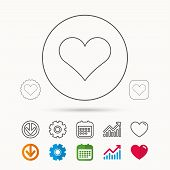Heart Icon. Love Sign. Life Symbol. Calendar, Graph Chart And Cogwheel Signs. Download And Heart Lov poster