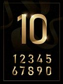 Elegant Golden Metal Numbers. 1, 2, 3, 4, 5, 6, 7, 8, 9, 10. Gold Number Alphabet Typeface Glowing T poster