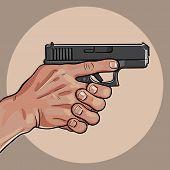 Hand With Gun. Gun Control Using Both Hands. Vector. Illustration poster