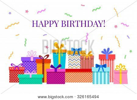 poster of Happy Birthday Card With Gift Boxes. Celebratory Party Greeting Poster With Colorful Confetti, Ribbo