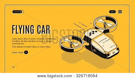 poster of Future Taxi Service Isometric Web Banner. Flying Car, Futuristic Copter With Two Propellers For Pass