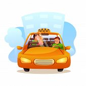 Couple Taking Taxi Flat Illustration. Confused Yellow Cab Driver With Kissing Newlyweds. Curious Sit poster
