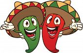 Happy cartoon chili peppers wearing sombreros. Vector illustration with simple gradients. All in a single layer.