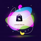 Black Shoping Bag With An Inscription Percent Discount Icon Isolated On Dark Blue Background. Handba poster