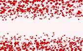 Ruby Red Flying Hearts Bright Love Passion Frame Border Background. Beautiful Confetti Hearts Fallin poster