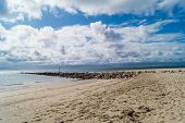 Impressions Of The Endless Beach At The Northern Sea In Blavand Denmark poster